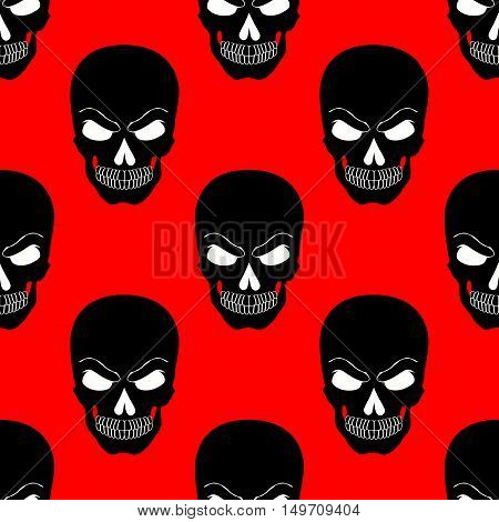 Skull black white red endless background vector illustartion