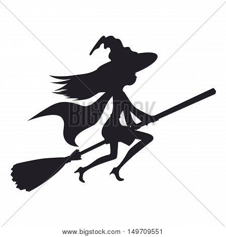 Cute witch flying on a broom isolated on a white background