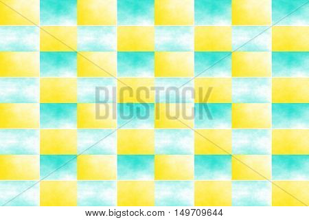 Illustration of an abstract yellow and cyan chessboard