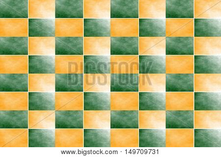 Illustration of an abstract dark green and orange chessboard
