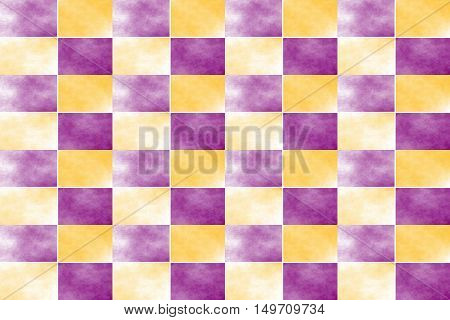 Illustration of an abstract purple and orange chessboard