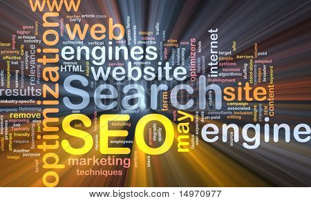 Software pakket box Word cloud concept illustratie van SEO Search Engine Optimization