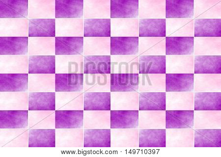 Illustration of an abstract pink and purple chessboard