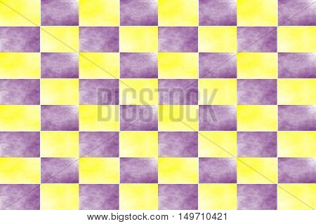 Illustration of an abstract yellow and purple chessboard