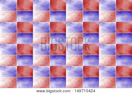 Illustration of an abstract red and dark blue chessboard