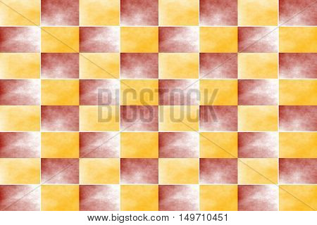 Illustration of an abstract red and orange chessboard