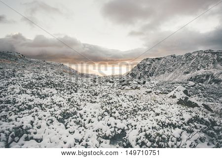 Mountains Landscape on sunset winter Travel serene scenic view snowy weather