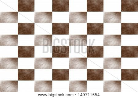 Illustration of an abstract brown and white chessboard