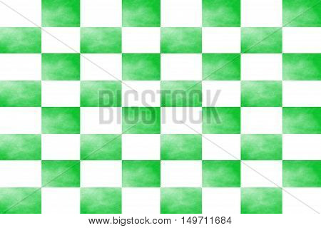 Illustration of an abstract green and white chessboard