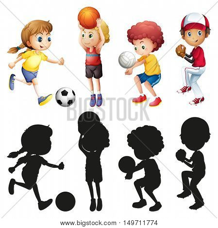 Children doing different kinds of sports illustration