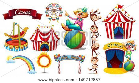 Circus set with games and characters illustration