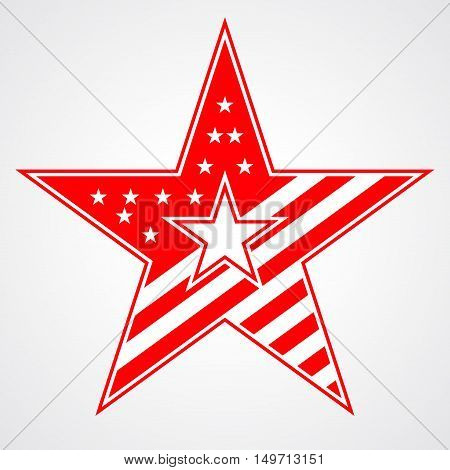 American star sign. Red icon isolated on white background. Patriotic object. Vintage graphics. National design element. Symbol of 4th july patriotism democracy. Vector illustration