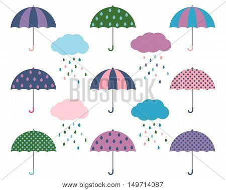 Vector Umbrellas with Rain Clouds in Flat Style