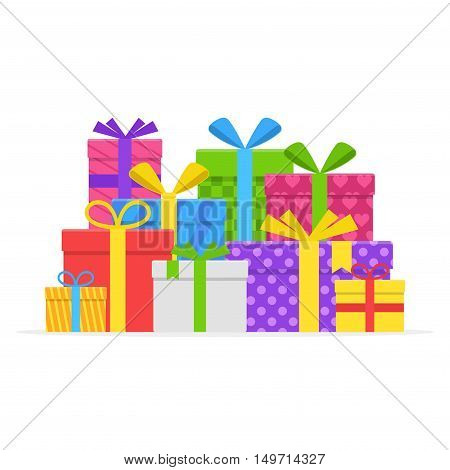 Pile colorful gift or present boxes with ribbon and bow vector set isolated on white background. Gift box for Christmas or a birthday party in a flat style. Heap wrapped gifts in colorful packaging
