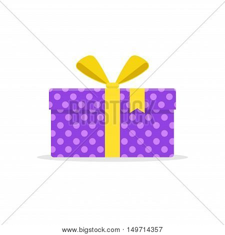 Gift or present box with yellow ribbon and bow vector isolated on white background. Icon gift box for Christmas or a birthday party in a flat style.
