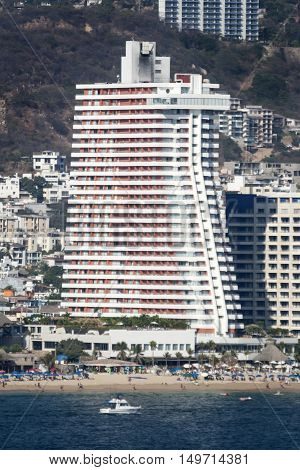 ACAPULCO MEXICO - FEBRUARY 19 2006 : A view of a hotel skyscraper at riviera of Acapulco Mexico.