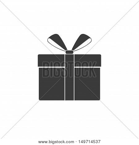 Gift or present box icon with ribbon and bow vector isolated on white background. Black icon gift box for Christmas or a birthday party in a flat style.