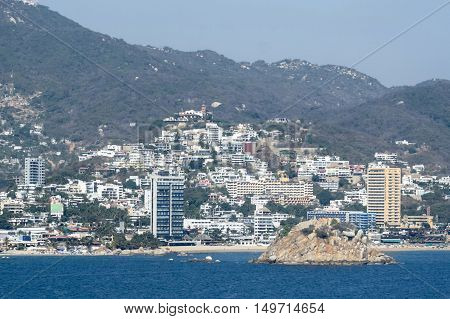 A view of the riviera of Acapulco Mexico.