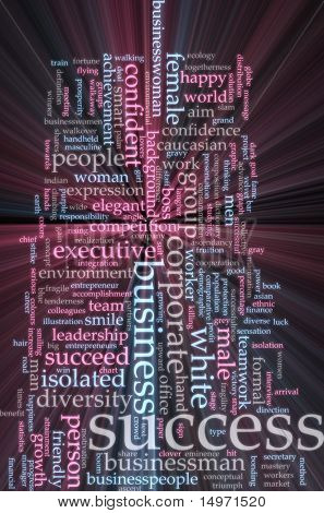 Word cloud concept illustration of business success glowing light effect
