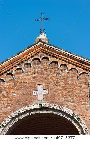 Detail of the facade of the famous and ancient basilica of Saint Ambrose (Sant'Ambrogio 379-1099) in Milano Lombardia Italy