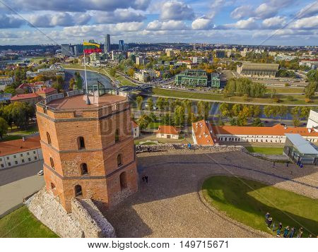 Vilnius, Lithuania: aerial top view of Upper or Gediminas Castle in the autumn