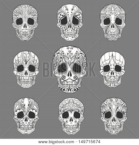 Day of the Dead Doodle Sugar Skulls set. Vector Collection