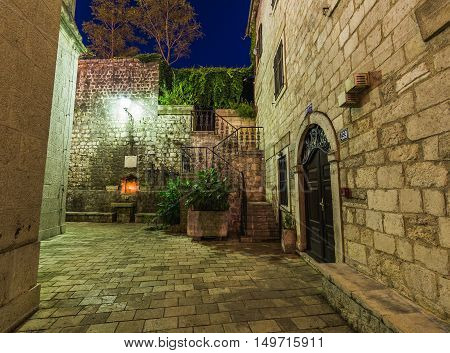 KOTOR MONTENEGRO - 13TH AUGUST 2016: The outside of streets in Kotor at night