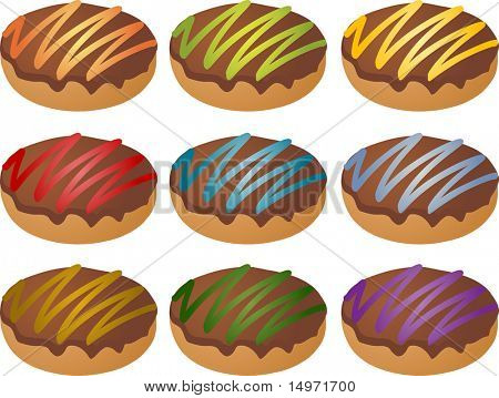 Colorful frosted icing donuts icon set many different colors
