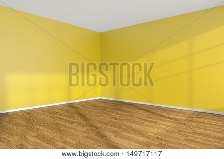 Empty room corner with hardwood parquet floor yellow walls and sunlight from window on the wall minimalist interior 3d illustration
