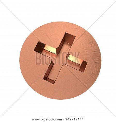 Metallic screw isolated on white background. 3D rendering illustration.