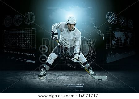 Ice hockey player on the ice around modern light