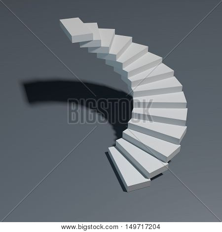 Spiral staircase isolated on gray background. 3D rendering illustration.