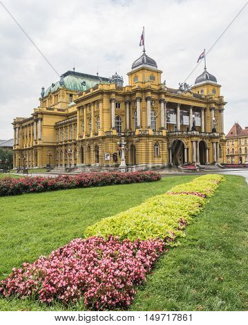 ZAGREB CROATIA - 17TH AUGUST 2016: A view of the outside of the Croatian National Theatre in Zagreb during the day