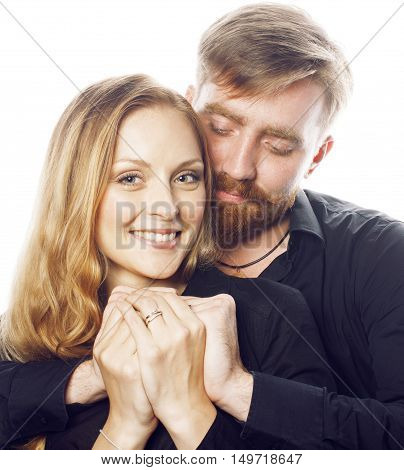 young tender couple, man and woman in love isolated on white, fooling around real modern hipster marriage, lifestyle people concept close up