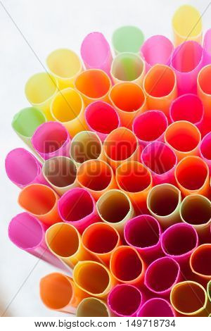 colorful of straw in a white background