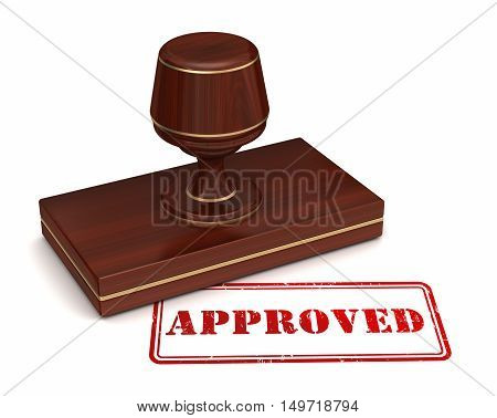 3d illustration of approved stamp isolated on white  background