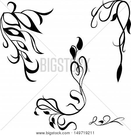 Set of decorative design elements for text, calligraphic flourishes and page decor