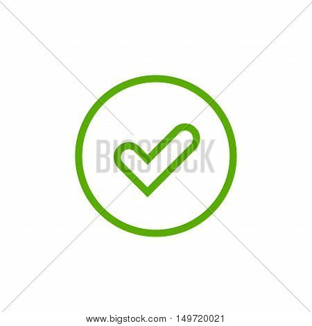 Tick sign element. Green checkmark icon isolated on white background. Simple mark graphic design. Circle OK button for vote decision web. Symbol of correct check approved Vector illustration