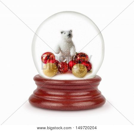 Christmas ball with snow flakes. Can be used as a Christmas or a New Year gift or symbol. Christmas snow globe isolated on white.