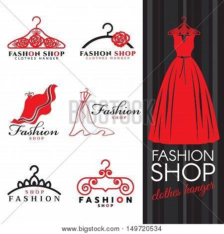 Fashion shop logo - Red dress and Clothes hanger logo vector set design