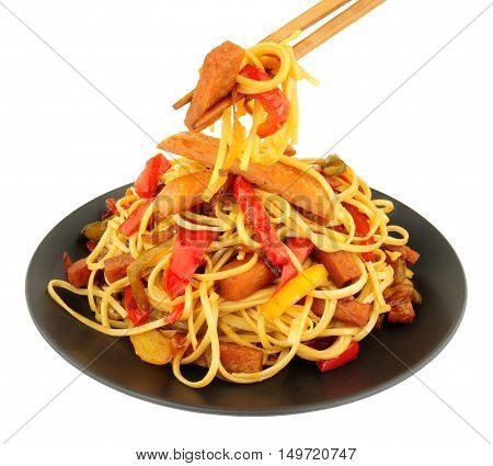 Spam meat stir fry with noodles isolated on a white background