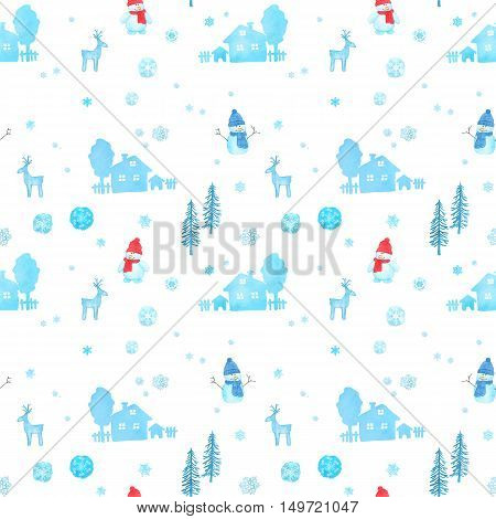 Seamless pattern with watercolor christmas snowman reindeers rural houses trees and snowflakes isolated on white background