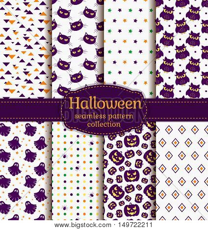 Happy Halloween! Set of seamless backgrounds with pumpkins gloomy owl black cats cute ghost spiders and abstract geometric patterns. Vector collection in white purple orange and green colors.