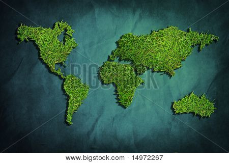 World Map Was Made From Garden Glass