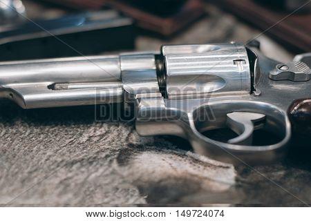 Closeup of powerful handgun. Pistol Revolver Handgun