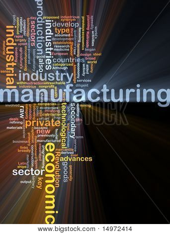 Word cloud concept illustration of manufacturing industry glowing light effect