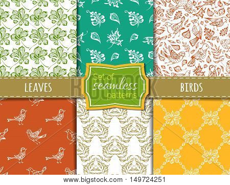 Hand-drawn birds and leaves. Maple, rowan, chestnut leaves. Boundless backgrounds.