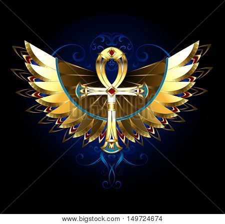 Golden Egyptian ankh with patterned shiny wings on a black background. Magic symbol.