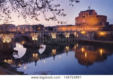 Castel Sant'angelo in Rome Italy at dusk