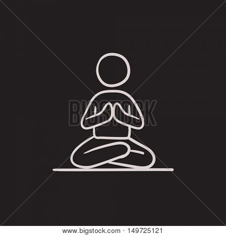 A man meditating in lotus pose vector sketch icon isolated on background. Hand drawn man meditating in lotus pose icon. Man meditating in lotus pose sketch icon for infographic, website or app.
